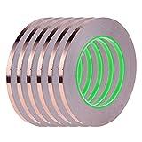 Gobesty Cinta de lámina de cobre, 6 rollos Cinta de cobre de 0.2 pulgadas con aislamiento adhesivo conductor doble Cinta de lámina autoadhesiva conductora para blindaje EMI, 21.8 yardas