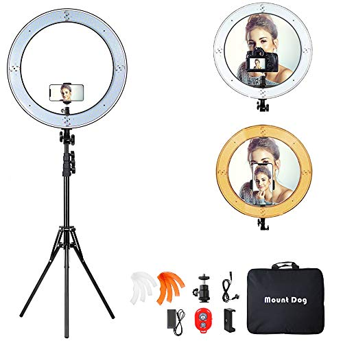 18 Inch Ring Light with 79' Tripod Stand,Mountdog Dimmable LED Ring Light with Rotatable Phone...