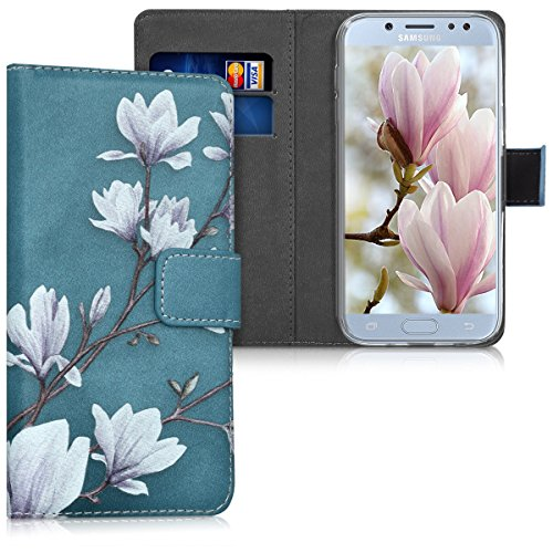kwmobile Hülle kompatibel mit Samsung Galaxy J5 (2017) DUOS - Kunstleder Wallet Case mit Kartenfächern Stand Magnolien Taupe Weiß Blaugrau