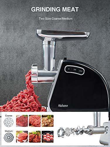 Yabano Tritacarne Elettrico, 3 IN 1 Tritacarne in Acciaio Inox, 1300W, Attacco per Salsiccia e Kubbe, Robot da Cucina Multifunzione per Carne