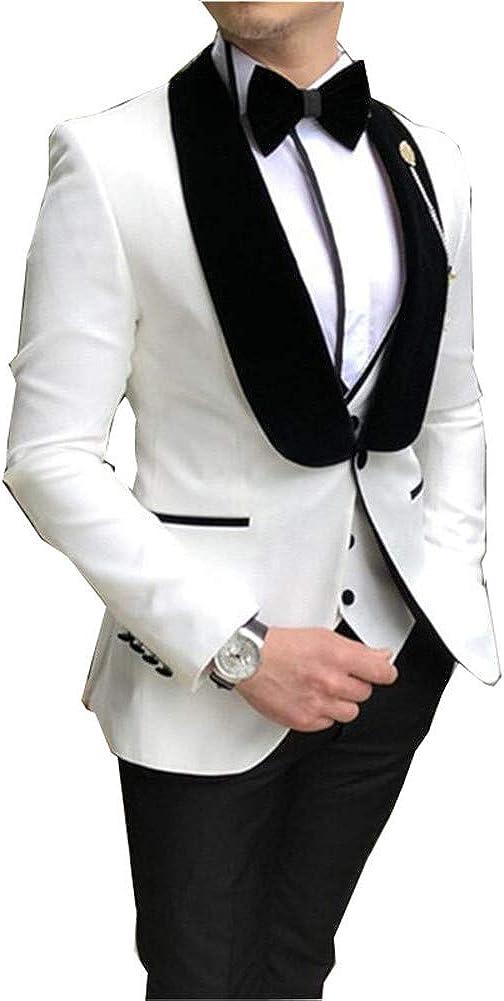 LIBODU White 3 Pcs Shawl Lapel Wedding Men Suits Prom Grooms Wedding Tuxedo Business Suits