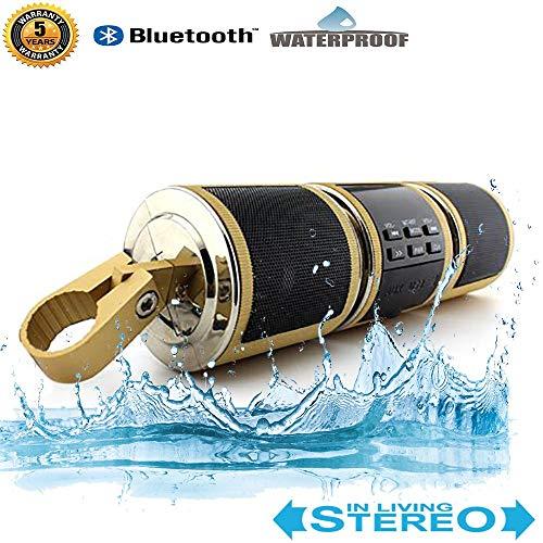 Motorcycle Bluetooth MP3 Waterproof Motor Audio-ondersteuning Stuur Double Hi-Fi speler ondersteunt USB/TF Card/AUX-interface en MP3 / WMA Chopper Bobber ingebouwde FM-radio,Gold
