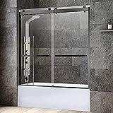 WOODBRIDGE SDD6062-MBL Frameless Bathtub Shower Doors 56-60' Width x 62' Height with 3/8'(10mm) Clear Tempered Glass, 2...
