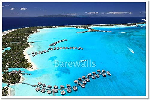 Bora Bora Lagoon, French Polynesia from Above. Dreamlike Colors. Some Overwater Bungalows are in View Paper Print Wall Art (24in. x 36in.)
