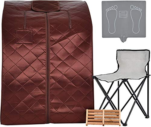 KUPPET Portable Infrared Home Spa, Infrared Portable Sauna, with Heating Foot Pad and Chair, Remote Control, 30 Minutes Timer (Infrared 36.6''H, Brown)