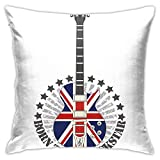 Throw Pillow Case Cushion Cover,Union Jack Patterned Guitar Stars Union Jack Design Musical Instrument ,18x18 Inches