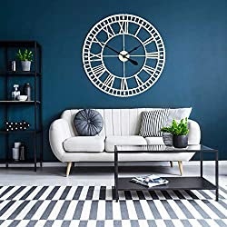 G-LEAF 32 Inch Metal Large Wall Clock Decorative,European Retro Clock Roman Numerals, Silent Battery Operated Metal Clock for Home, Living Room, Kitchen and Den,White