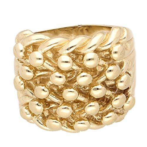 Jollys Jewellers Anillo de oro amarillo de 9 quilates para hombre (talla T 1/2) 20 mm de ancho