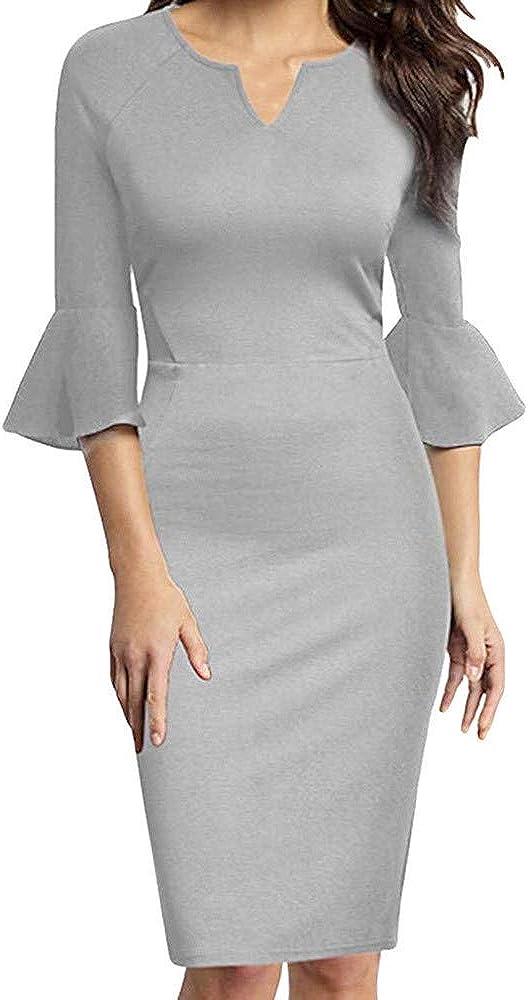 Wowpower Women Sexy V-Neck Flounce Bell Sleeve Office Work Cocktail Business Casual Pencil Dress
