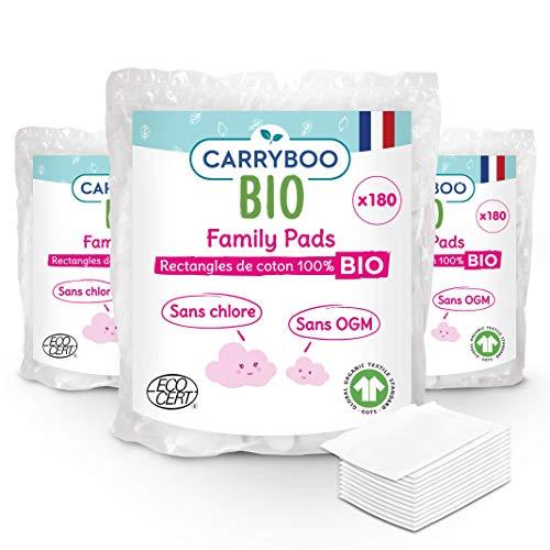Carryboo - 540 Carrés de Coton Bio - Lot de 3 Packs de 180 Pads de 8x10 cm- Fibre 100% Naturelle, 100% Coton Bio - Sans Chlore, Certifié Gots - Fabriqué en France