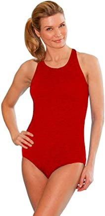 b9468a2920 Krinkle Chlorine Resistant Red High Neck One Piece Swimsuit Size 12