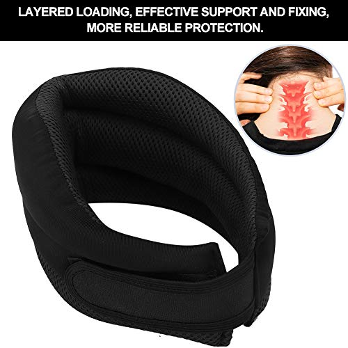 Neck Support Belt Durable Convenient Soft Neck Traction Collar for Correct Bad Posture for Home Use for Relaxion for Relieving Pain(Black, One Size)