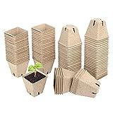 60 Piezas Macetas Biodegradables para Invernaderos, Macetas de Turba Biodegradables, Semilleros Biodegradables Cuadrados, Mini Macetas Redondas para Jardín Plántulas y Trasplantes de Plantas de Fibra