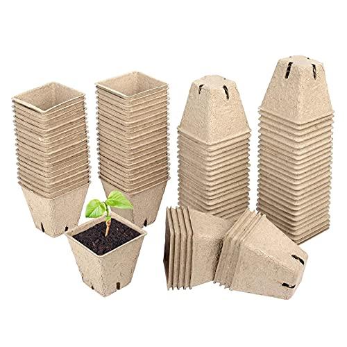 60 Piezas Macetas Biodegradables para Invernaderos, Macetas de Turba Biodegradables, Semilleros Biodegradables Cuadrados, Mini Macetas Redondas para Jardín Plántulas y Trasplantes de Plantas d