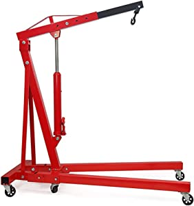 Warmiehomy Heavy Duty Ton Folding Engine Crane Stand Hoist Lift Jack Workshop Hydraulic Use  Red