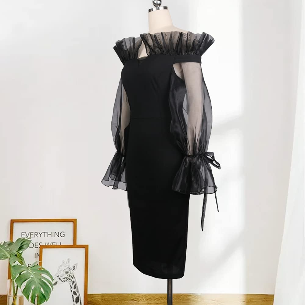 AOMEI Women's Black Cold Shoulder Mesh Long Sleeve Elegant Slim Pencil Dress