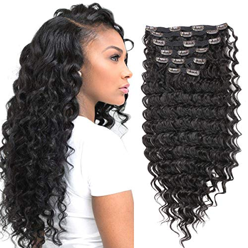 Clip in Hair Extensions Synthetic hair Clip in 140G 7Pcs/Lot Japanese Heat Resistant Fiber Hairpieces Deep Wave/Body Wave/Straight hair (Deep Wave, Dark Brown 2#)