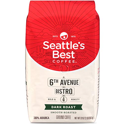 Seattle's Best 6th Avenue Bistro (Previously Signature Blend No.4) Level 4 Medium Dark and Rich Ground Coffee 32 Ounce Bag (Pack of 2)