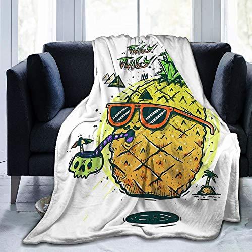 MINIOZE Gafas de sol Hawaii Vacaciones Piña Tropical Frutas Frutas Felpa Manta de forro polar Completa Manta tamaño Queen King Edredón de felpa suave y acogedor, ropa de cama, decoración de dormitorio