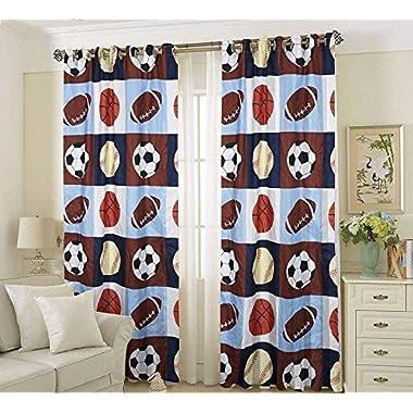 Golden Linens 2 Pieces Rod Pocket Window Curtains/Drape/ Panels/Treatment Set Printed Navy Blue, Sky Blue, Brown, Orange Kids Sports Basketball Football Baseball # 02- Curtain