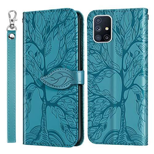 MUTOUREN Funda para Samsung Galaxy A51 4G - Carcasa Folio PU Cuero Flip Cover Wallet Case Anti-rasguños Protectora Bolsillo Carteras, con Protector de Pantalla - Azul