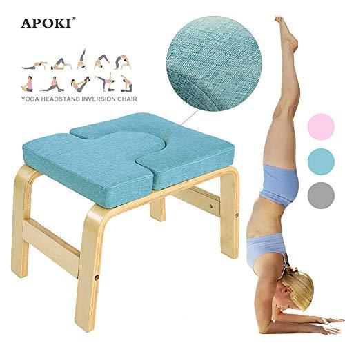 APOKI Yoga Kopfstandhocker,Safe Yoga Kopfstandstuhl,Canvas.Unterstützt Bis Zu 200 Kg,Yoga Hilft Trainingsstuhl Multifunktionale Invertierte Sportübungsbank Fitnessgeräte Für Den Perfekten Körper Chair