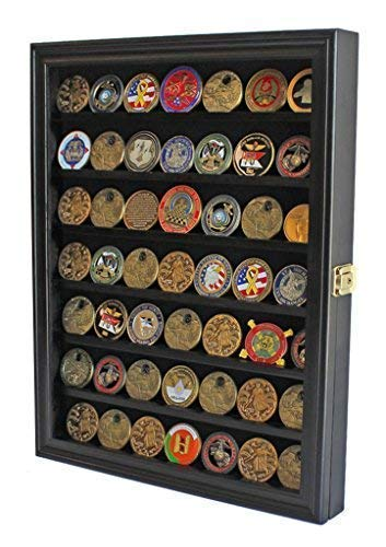 Challenge Coin / Casino Chip Display Case Cabinet Holder Shadow Box, Glass Door, Black (COIN56-BL)