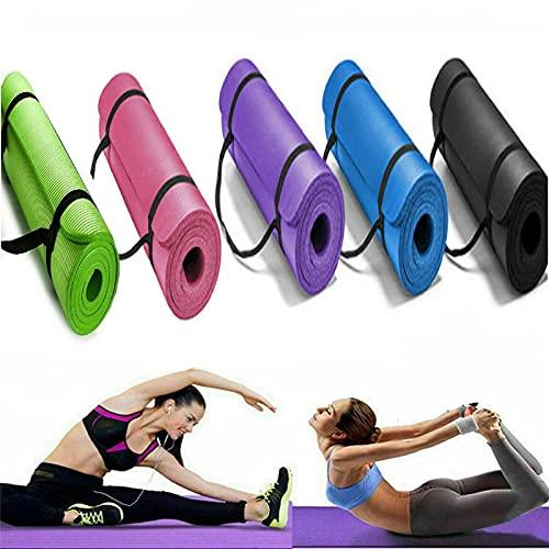 Yogamatte Gymnastikmatte rutschfeste aus NBR-Schaum,Hypoallergen sportmatte mit Tragegurt,Fitnessmatte für Yoga,Pilates,Fitness Übungen und Gymnastik,Trainingsmatte 180cm x 61cm x 1,5cm
