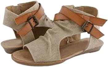 hibote Mujeres Pescado Boca Zapatos Sandalias con Una Base Plana Zapatos Sandalias Mujer/Verano/de Tacón Bajo/Boca de Pescado/Elegante/de Moda