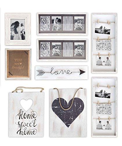 Gallery Solutions Bilderrahmen Collage und Wand Dekoration Set 9 Stück, Weiß