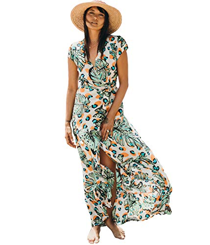 XIX Palm - Havana Wrap Dress | Sundress & Beach Coverup | Casual Boho Overall | Floral & Flowy Vintage | V-Neck Ruffle Wearing 100% Rayon for Women.