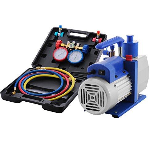 Buoqua Vakuumpumpe Kit HVAC Einstufige AC Vakuumpumpe 4.8CFM 1 / 3HP Luftvakuumpumpe mit 4 Ventil A / C Manifold Manometer Set Kältemittel Klimaanlage (4.8CFM1 / 3HP 4Valve)