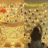 Clip Cadena de Luces LED,100LEDs 10M Luces LED para Clip de Foto,Alimentado por Batería Foto clips Guirnalda de Luces,para Fotos,Postales,Notas,Ilustraciones(Blanco cálido)