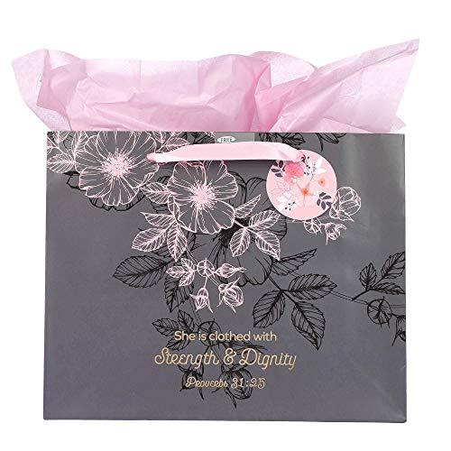 Cinzento do presente Floral presentes da arte cristã Rosa / Bag Set | Força e Dignidade Provérbios 31 Bíblia Mulher Verse | Paisagem Grande saco do presente com papel de tecido por Mulheres