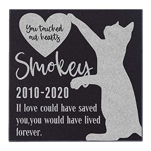 Be Burgundy Personalized Cat Memorial Stone - Granite Cat Grave Marker | 6' x 6' |Sympathy Poem, Loss of Cat Gift, Indoor - Outdoor Tombstone Headstone - Grave Marker w/Pet Name