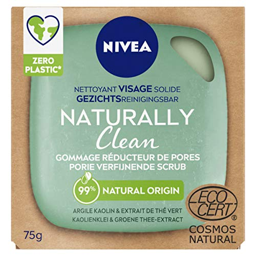 NIVEA NATURALLY Clean Nettoyant Visage Solide Gommage Réducteur de Pores (1 x 75 g), Soin visage exfoliant sans savon, Soin purifiant visage au PH neutre pour la peau