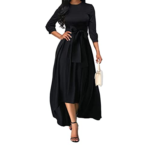 4d136af32ce9 Women 3/4 Sleeve Crew Neck Asymmetrical Hem Belted High Low Homecoming Party  Maxi Dress