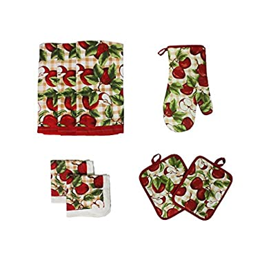 Cotton Printed Kitchen Dish Towels, Pot Holder and Oven Mitt, Set of 8 for Cooking, Baking, Housewarming, Host/Hostess, Wedding Registy, Mother's Day Gifts-Red Apples