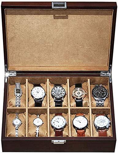 JSDKLO Watch Display Storage Box Storage Box, Sleek Minimalist Solid Wood Material Men and Women Watch Box Display Storage Box, with Solid Top Can Accommodate 10 Watches