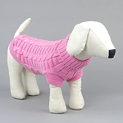 Kismaple Cute Pet Puppy Cat Dog Warm Jumper Sweater Knitwear Coat Apparel Autumn Winter Dog Clothes (XL Back Length:33-34cm, Pink)