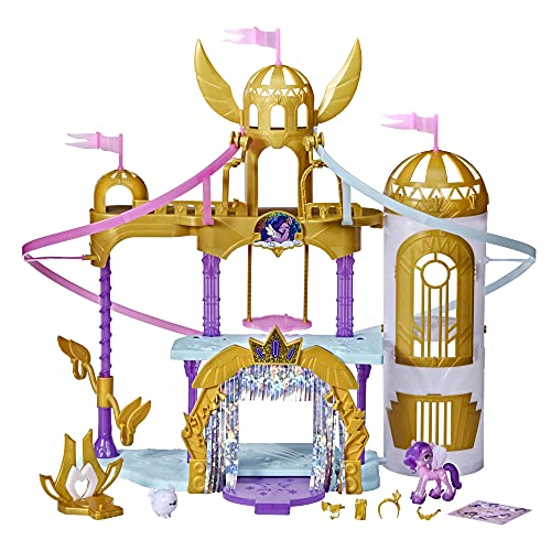 My Little Pony: A New Generation Movie Royal Racing Ziplines - 22-Inch Castle Playset Toy with 2 Moving Ziplines, Princess Pipp Petals Figure