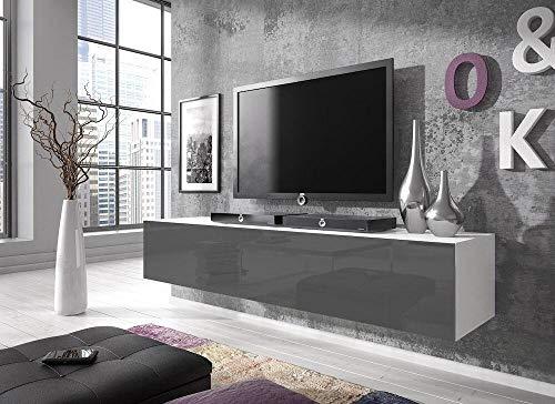 E-Com - TV-Lowboard Fernsehschrank Fernsehtisch Rocco - 160cm - Schwarz