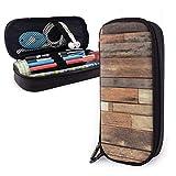 Tablones de piso rústico de cuero Imprimir Estuche de lápices Bolso de bolígrafo Bolsa de maquillaje Capacidad Papelería Soporte de almacenamiento