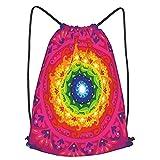 huagu Mochila Con Cordones Unisex,Hippie circular arco iris espiral dentro de la obra de arte inconformista,Bolso con Cordón Impermeable para Nadar/Surfear/Viajar/Hacer Senderismo/Yoga/Deportes