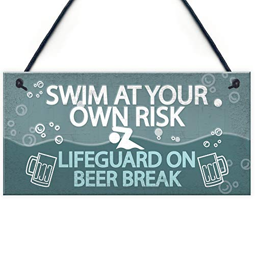 RED OCEAN Funny Swim At Own Risk Hot Tub Pool Jacuzzi Hanging Garden Shed Alcohol Plaque Wall Sign