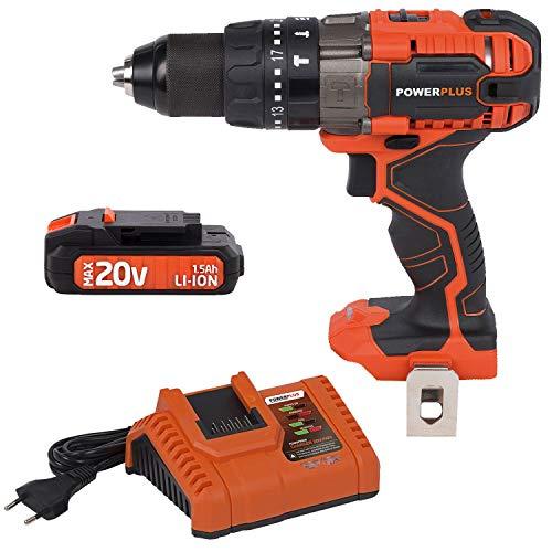Powerplus Dual Power 20V Akkubohrschrauber LED Leuchte Li-ion + Ladegerät 20V/40V + Akkupack 20V LI-ION
