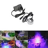 YCNK 12 LED Ultraschall-Brunnen Nebel-Hersteller Fogger Luftbefeuchter mit Netzteil + Wasserdichte Tauch-LED-Leuchten (LED-Nebel-Hersteller + LED-Licht)