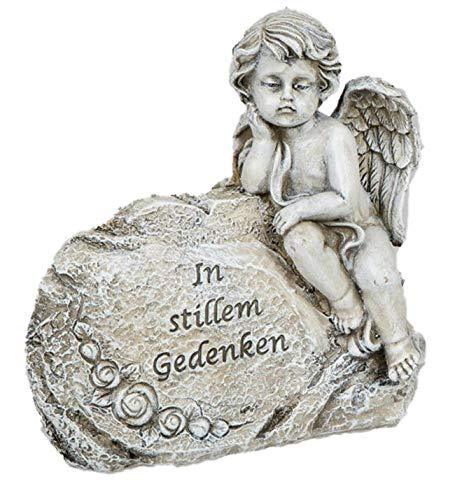 dekojohnson Ange décoratif en forme de buste - Décoration funéraire - Décoration funéraire - Figurine commémorative pour les tombes - Crème/gris - 6 x 4 cm