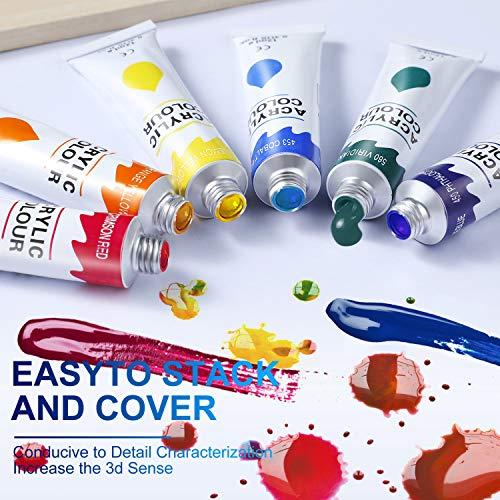 Pintura Acrílica, 24 Colores Pintura Acrilica Manualidades para Lienzos, Papel, Madera, Cerámica, Telas y Manualidad