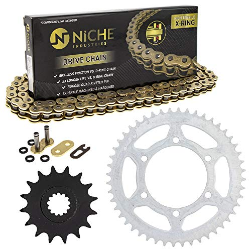 NICHE Drive Sprocket Chain Combo for Yamaha YZF-R6 YZF-R6S Front 16 Rear 48 Tooth 520V-X X-Ring 116 Links